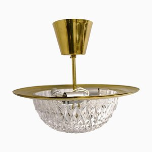 Brass and Crystal Ceiling Lamp by Tyringe Konsthantverk for Orrefors, Sweden,1960s