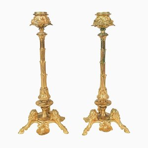 19th Century Gilt Bronze Candlesticks, Set of 2