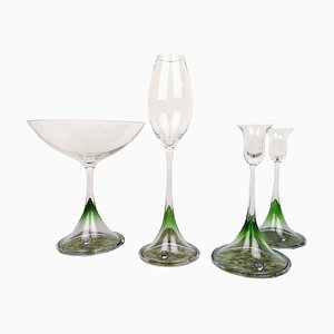 Scandinavian Tulip Glasses by Nils Landberg for Orrefors, Set of 4