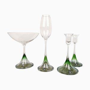 Scandinavian Tulip Glasses by Nils Landberg for Orrefors, Set of 4