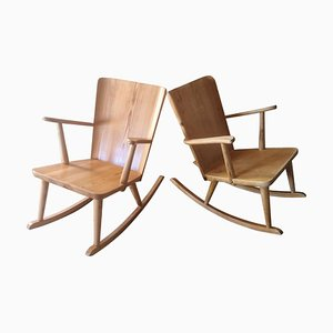 Pine Rocking Chair by Göran Malmvall, Sweden, 1940s, Set of 2