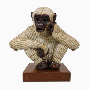 Affenskulptur aus der Mitte des Jahrhunderts von Gunnar Nylund für Rörstrand, Schweden