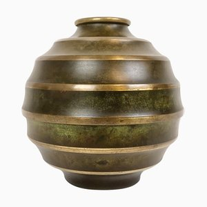 Art Deco Bronze and Brass Vase by Svm Crafts, Sweden