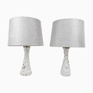 Swedish Mid-Century Crystal Table Lamps by Carl Fagerlund for Orrefors, Set of 2