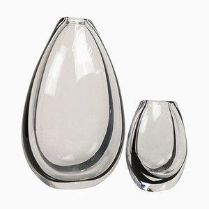 Art Glass Vases by Vicke Lindstrand for Kosta, Sweden, Set of 2