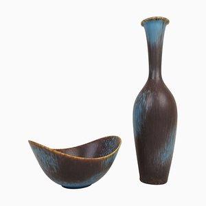 Mid-Century Keramik Vase und Schale Set von Gunnar Nylund für Rörstrand, Schweden