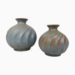 Ceramic Vases in Turquoise by Ewald Dahlskog for Bo Fajans, Sweden, Set of 2