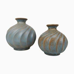 Keramik Vasen in Türkis von Ewald Dahlskog für Bo Fajans, Sweden, 2er Set