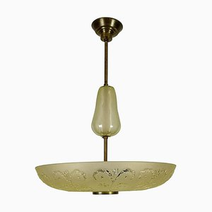 Large Swedish Art Deco Ceiling Fixture from Orrefors