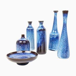 Mid-Century Miniatur Keramikvasen von Gunnar Nylund für Rörstrand, Schweden, 6er Set