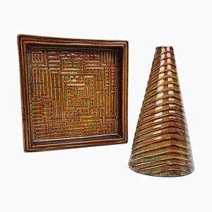 Mid-Century Domino Vase und Schale Set von Stig Lindberg für Gustavsberg, Schweden