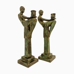 Große Art Deco Kerzenhalter aus Bronze, Schweden, 1990er