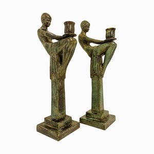 Large Art Deco Style Bronze Candleholders, Sweden, 1990s