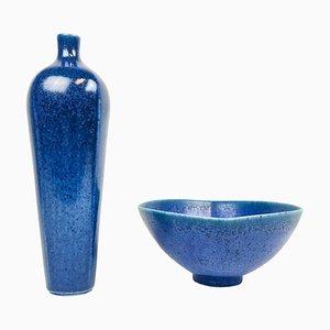 Ensemble Vase et Bol Scandinaivan Modern par Berndt Friberg pour Gustavsberg, Suède