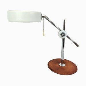 Mid-Century Brown Leather and Chrome Desk Lamp from Atelje Lyktan, Sweden