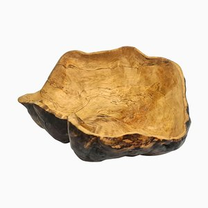Large Swedish Folk Art Organic Burl Bowl, 1960s