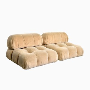 Vintage Beige Mohair Sofas by Mario Bellini for B&B Italia / C&B Italia, Set of 2