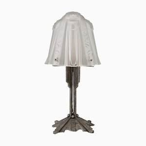 Art Deco Glass and Iron Table Lamp from Muller Frères, 1920s