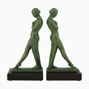 Art Deco Bookends Standing Nudes With Drape Fayral by Pierre Le Faguays, 1930, Set of 2