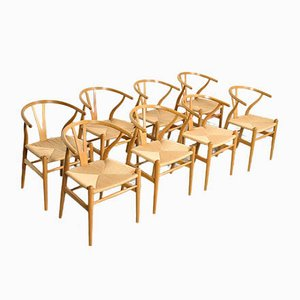 Wishbone Chairs by Hans J. Wegner for Carl Hansen & Søn, 1990s, Set of 8