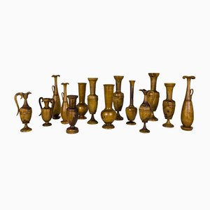 Collection of Greek Wooden Urns, 1960s, Set of 14