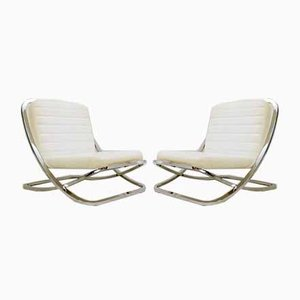 Chrome And White Faux Leather Lounge Chairs from Porsche, 1980s, Set of 2