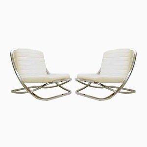 Sessel aus Chrom & weißem Kunstleder von Porsche, 1980er, 2er Set
