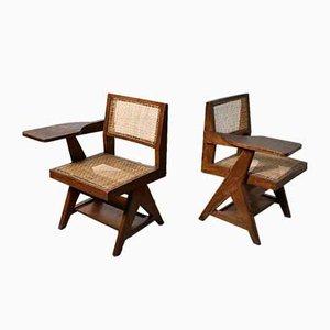 Chaises d'Écriture par Pierre Jeanneret pour l'Université du Punjab, 1960s, Set de 2