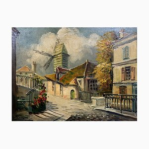 André Franchet, Paris Street, 20th Century, French School Oil On Canvas