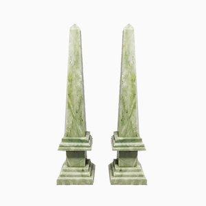 Handmade Italian Green Marble Obelisks, 1960s