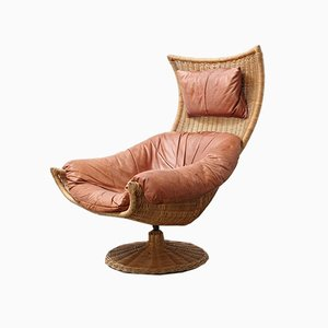 Rattan and Leather Lounge Chair by Gerard van den Berg for Montis, 1970s