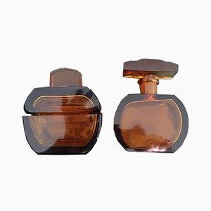Art Deco Dressing Table Set Box & Brown Glass Perfume Bottle, 1930s, Set of 2