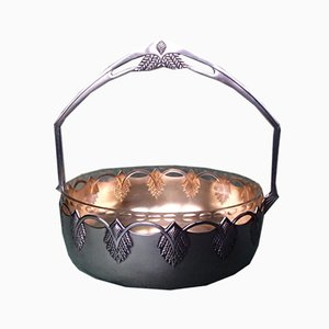 Antique Art Nouveau Silver-Plated Bowl with Handle from WMF