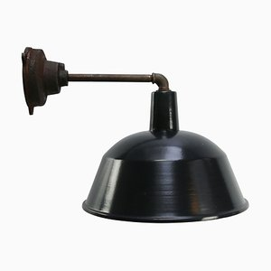 Industrielle Vintage Fabriklampe aus schwarzer Emaillierter Gusseisen Fabrik