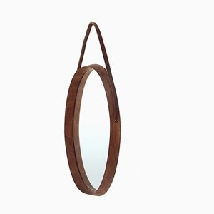 Mirror with Oval Wooden Frame, 1950s