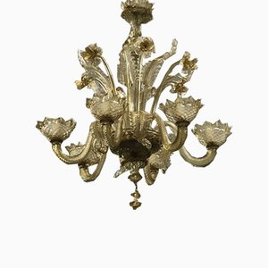 Murano Amber Glass Chandelier with 6 Lights, 1980s