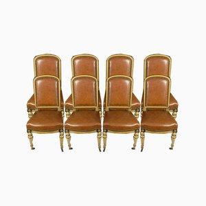 Napoleon III Light Wood Dining Chairs, Set of 8