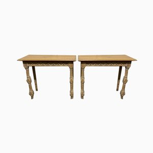 French Gothic Bleached Oak Console Tables, Set of 2