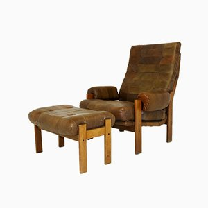 Vintage Swedish Lounge Chair & Ottoman, 1970s, Set of 2
