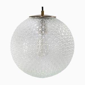 Lampe à Suspension Vintage en Verre Transparent avec Plateau en Laiton, Europe