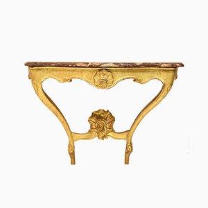 Französischer Konsolentisch aus geschnitztem und vergoldetem Holz, 18. Jh