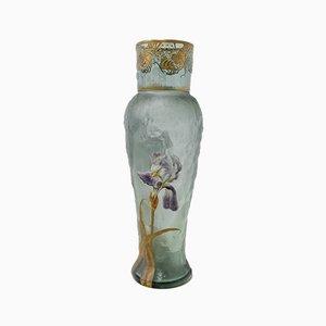 Antique Art Nouveau French Glass Vase by Mont Joye, 1900