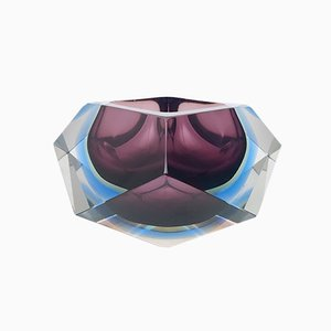 Rautenförmiger Sommerso Glas Aschenbecher oder Catchall von Flavio Poli, 1960er