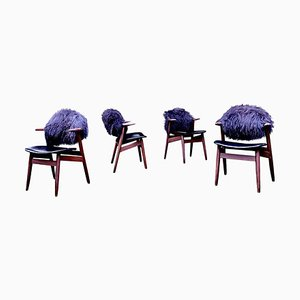 Mid-Century Black Cowhorn Dining Chairs by Tijsseling for Hulmefa, Set of 4