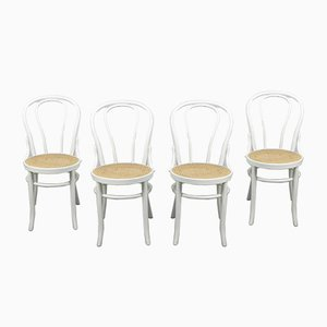No. 18 White Chairs by Michael Thonet, Set of 4