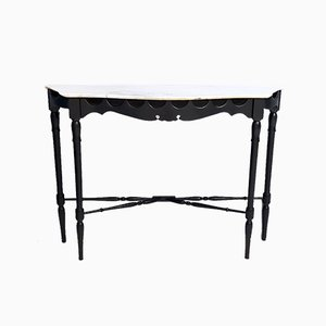 Ebonized and Turned Walnut Console with a Flamed Carrara Marble Top, 1960s