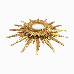 Large Vintage Golden Sunburst Mirror, 1960s