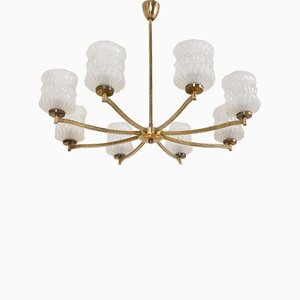 Mid-Century Brass Chandelier with 8 Crystal Glasses, 1950s