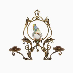 French Wrought Iron and Porcelain Parrot Figurine Candle Chandelier
