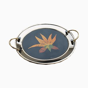 Brass Tray with Black Background and Leaves, 1970s